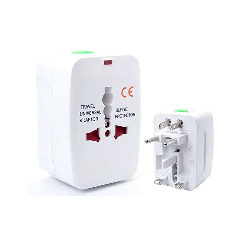 Portable All in One Universal Plug AC Charger Travel Power Adaptor - White