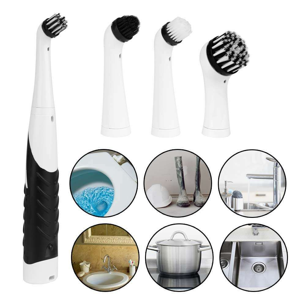 4 in 1 Electric Super Sonic Scrubber Cleaning Brush Home Bathroom | HBE-45869