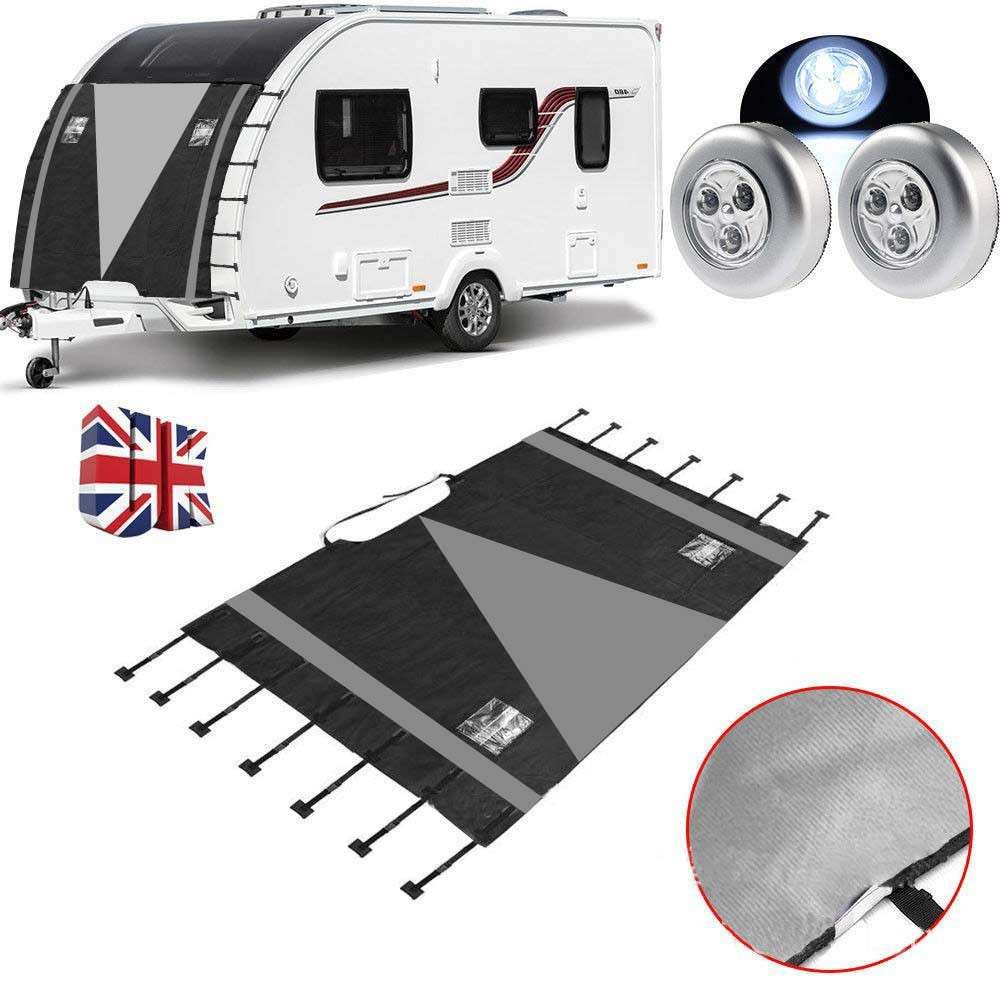210D Caravan Front Towing Protector Covers Towing Cover Protector Black and Gray